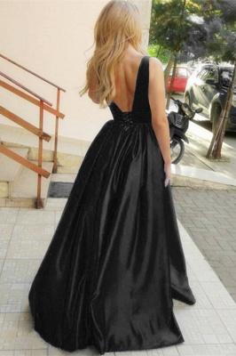 Stylish Straps Sleeveless Deep V-Neck A-Line Prom Dress_2