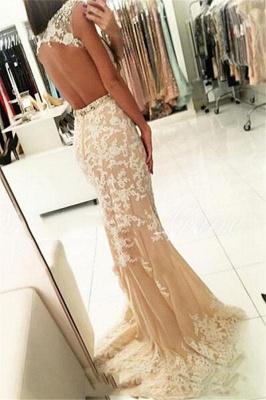 Fashion Appliques Round Neck Cap Sleeves Mermaid Prom Dress BA4294_2