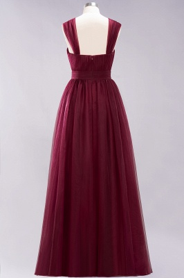 A-Line  Sweetheart Straps Sleeves Floor-Length Bridesmaid Dresses with Ruffles_2