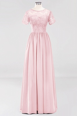 A-line  Lace Jewel Short-Sleeves Floor-length Bridesmaid Dress_3