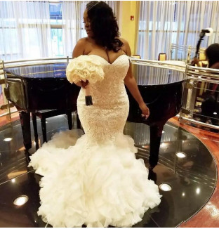 Unique Sleeveless Sweetheart Organza Lace Appliques  Sexy Mermaid Wedding Dress_1