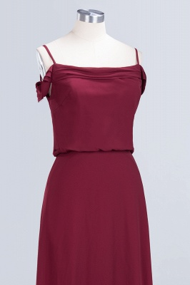 Long Off-the-Shoulder Elegant Burgundy A-Line Bridesmaid Dress_6