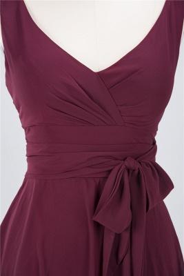 A-Line Straps V-Neck Sleeveless Ruffles Knee-Length  Bridesmaid Dress with Bow Sash_3