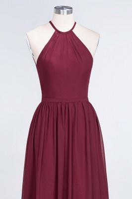 A-Line Halter Sleeveless Floor-Length  Bridesmaid Dress with Ruffles_4