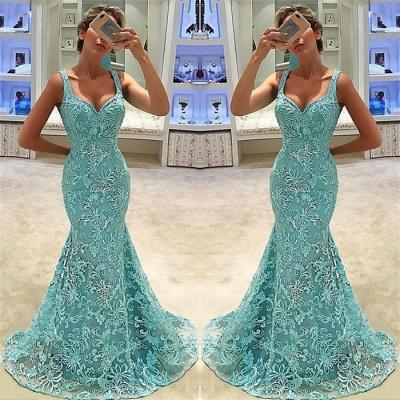 Fashion Straps Sleeveless Appliques Mermaid Floor-Length Prom Dress_3