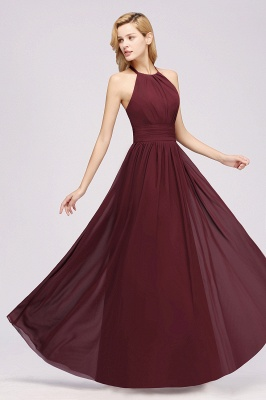 Simple A-Line Chiffon Bridesmaid Dresses | Halter Ruched Hollow Back Maid of The Honor Dresses_3