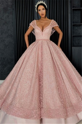 Stunning Cap Sleeves Beading Ball Gown Prom Dress_1