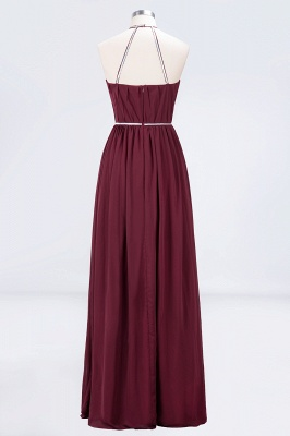 A-line Halter Sleeveless Floor-Length  Bridesmaid Dress with Beading Sash_2