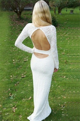 Stylish Round Neck Long Sleeves Appliques Floor-Length Prom Dress_2