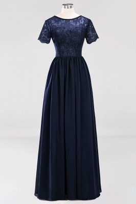 A-line  Lace Jewel Short-Sleeves Floor-length Bridesmaid Dress_27