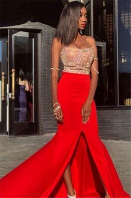 Elegant Strapless Sleeveless Front Slipt Mermaid Prom Dress_4