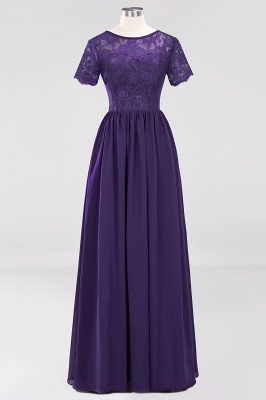 A-line  Lace Jewel Short-Sleeves Floor-length Bridesmaid Dress_18