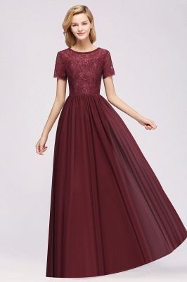 A-line  Lace Jewel Short-Sleeves Floor-length Bridesmaid Dress_35
