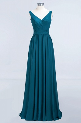 Sleeveless Chiffon A-line Newest Straps Floor-length Bridesmaid Dress_11