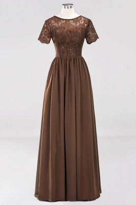 A-line  Lace Jewel Short-Sleeves Floor-length Bridesmaid Dress_12