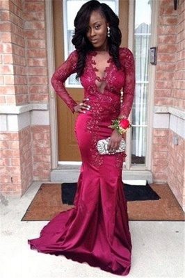 Stunning V-Neck Appliques Long Sleeves Mermaid Prom Dress_1