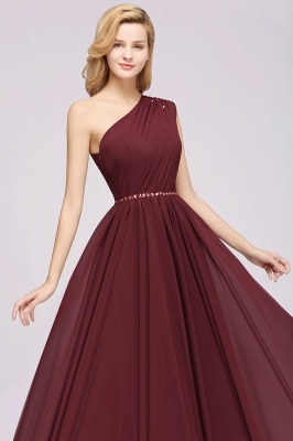 Fashion A-Line One-Shoulder Bridesmaid Dresses | Chiffon Sleeveless Beaded Wedding Party Dresses_12