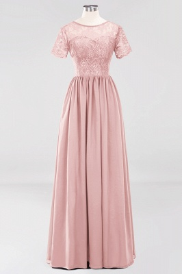 A-line  Lace Jewel Short-Sleeves Floor-length Bridesmaid Dress_6