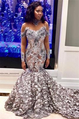 Charming Off-the-Shoulder Long Sleeves Mermaid Flower Prom Dress_1