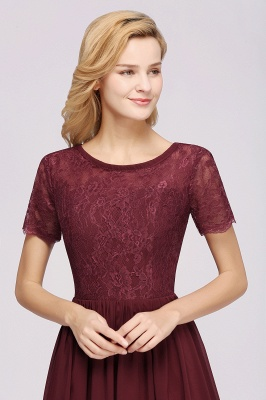 A-line  Lace Jewel Short-Sleeves Floor-length Bridesmaid Dress_38