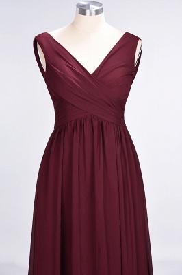 A-Line Straps V-Neck Sleeveless Floor-Length  Bridesmaid Dress with Ruffles_4