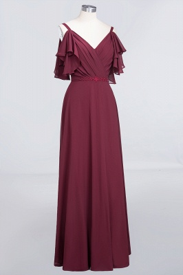 A-Line V-Neck Straps Sleeveless Ruffles Floor-Length  Bridesmaid Dress with Pearls_3