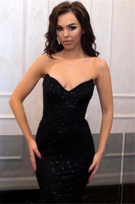 Stunning Strapless Sleeveless Black Floor-Length Mermaid Prom Dress_3