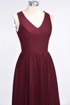 A-Line V-Neck Sleeveless Floor-Length Satin Bridesmaid Dress with Ruffles_5