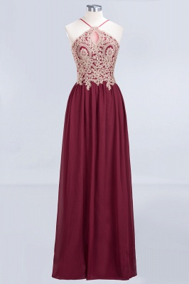A-Line Spaghetti-Straps Sleeveless Backless Floor-Length  Bridesmaid Dress with Appliques_1