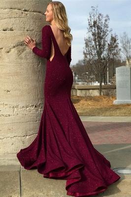 Stylish Round Neck Long Sleeves Backless Prom Dress_2