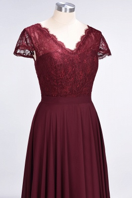 A-Line V-Neck Cap-Sleeves Floor-Length  Lace Bridesmaid Dress_5
