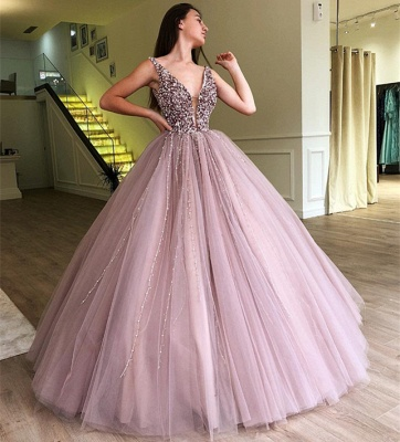 Stunning Straps Sleeveless Beading  Ball Gown Prom Dress_4