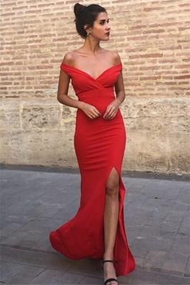 Charming Off-the-Shoulder Front Slipt Sleeveless Mermaid Prom Dress_3