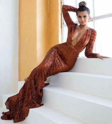 Sexy Deep V-Neck Long Sleeves Mermaid Prom Dress_3