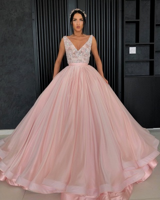 Elegant V-Neck Sleeveless Appliques Ball Gown Prom Dress_4