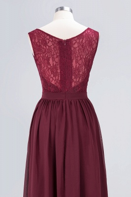 A-Line V-Neck Sleeveless Floor-Length  Lace Bridesmaid Dress with Ruffles_6