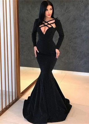 Sexy Long Sleeves Mermaid Sweep Train Prom Dress_1