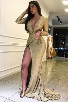 Sexy Long Sleeves Deep V-Neck Front Slipt Mermaid Prom Dress_1