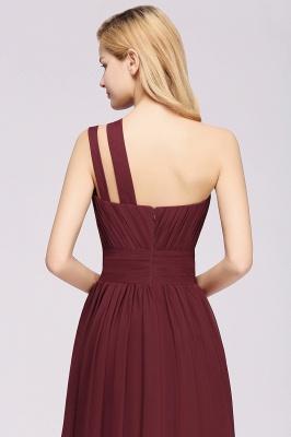Elegant A-Line Burgundy One-Shoulder Sleeveless Ruffles Floor-Length  Bridesmaid Dresses_5