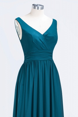 Sleeveless Chiffon A-line Newest Straps Floor-length Bridesmaid Dress_6