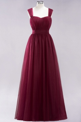 A-Line  Sweetheart Straps Sleeves Floor-Length Bridesmaid Dresses with Ruffles_1