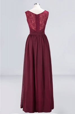 A-Line V-Neck Sleeveless Floor-Length  Lace Bridesmaid Dress with Ruffles_2
