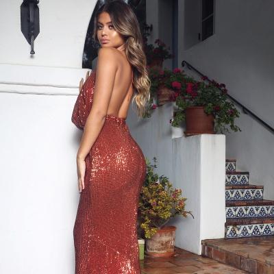 Sexy V-Neck Halter Backless Sleeveless Mermaid Prom Dress_5