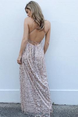 Fashion Spaghetti Straps Deep V-Neck Sleeveless Front Slipt Prom Dress_3