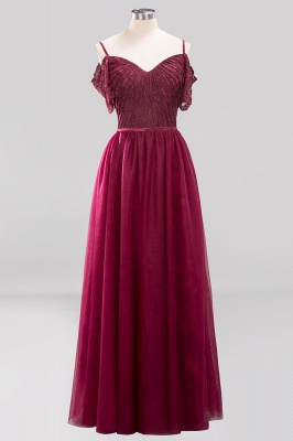A-Line  Lace Sweetheart Spaghetti Straps Short-Sleeves Floor-Length Bridesmaid Dresses with Ruffles_1