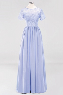 A-line  Lace Jewel Short-Sleeves Floor-length Bridesmaid Dress_21
