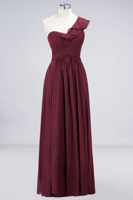 A-Line One-Shoulder Sweetheart Sleeveless Floor-Length  Bridesmaid Dress with Ruffles_1