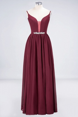 A-Line Spaghetti-Straps Deep-V-Neck Sleeveless Floor-Length  Appliques Bridesmaid Dress with Ruffles_1