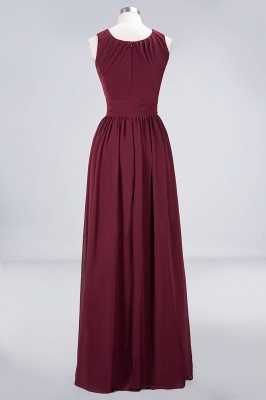 A-Line Round-Neck Sleeveless Floor-Length  Bridesmaid Dress with Ruffles_2