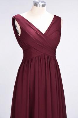 A-Line Straps V-Neck Sleeveless Floor-Length  Bridesmaid Dress with Ruffles_5